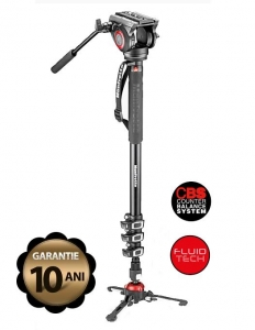 Pachet Manfrotto MVMXPRO500 monopied video cu baza Fluidtech + Manfrotto geanta trepied 80 cm Non Padded
