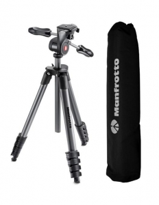 Manfrotto Compact Advanced kit trepied foto cu cap 3-Way si husa0
