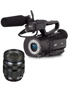 Pachet JVC GY-LS300CHE 4K cu 12-40mm f/2.8 PRO Lens + Manfrotto CC 193N geanta video + Kit trepied video Nitrotec Carbon0