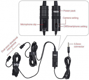 Boya BY-M1DM microfon lavaliera dubla1