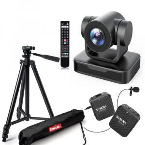 Kit lector Camera PTZ Full HD 1080 Zoom 10X USB 2.0 cu lavaliera Wireless0