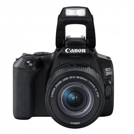 Canon EOS 250D Aparat Foto DSLR Kit cu Obiectiv EF-S 18-55mm IS STM Negru [1]