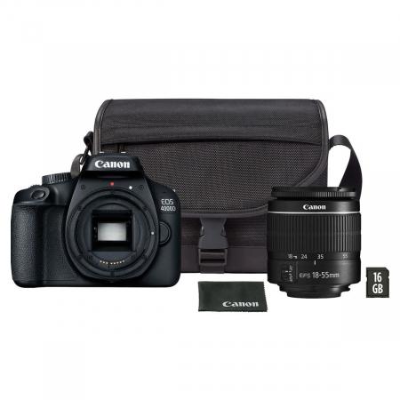 Canon EOS 4000D Kit EF-S 18- 55mm f/3.5-5.6 III cu geanta si card