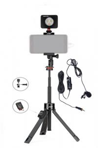 Kit vlogging pentru smartphone cu LED si lavaliera0