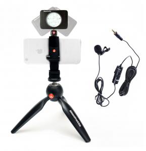 Manfrotto Kit pentru Vlogger LED8 Minitrepied cu lavaliera0