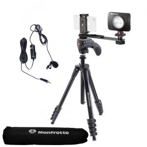Manfrotto Kit pentru Vlogger LED3 Compact Action cu lavaliera0