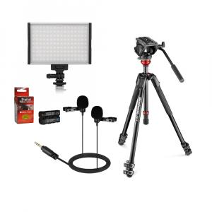 Manfrotto Kit video interviu MVK500 cu LED si lavaliera dubla0