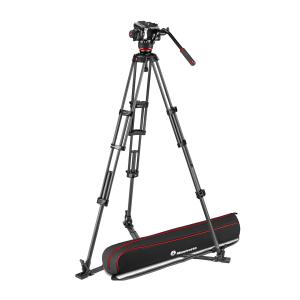 Manfrotto MVK504XTWINGC Kit Trepied video Carbon cu spreader de podea [0]
