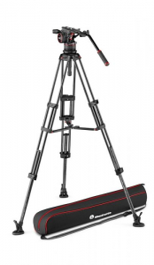 Manfrotto Nitrotech N12 KIT video carbon Twin leg cu mid-spreader0