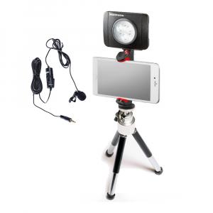 Primaphoto suport smartphone cu minitrepied si LED 3 pentru vlogging cu lavaliera0