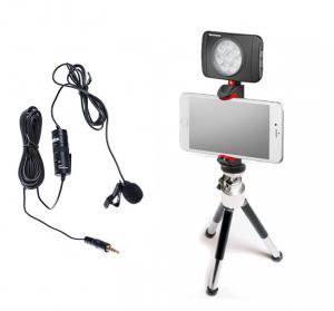 Primaphoto suport smartphone cu minitrepied si LED 8 pentru vlogging cu lavaliera0