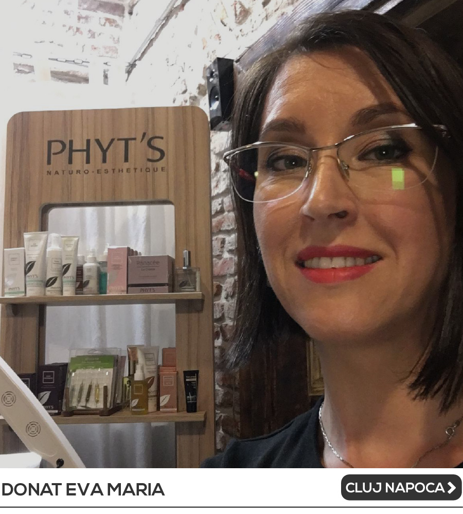 """<h5>NATURO-ESTETICIAN certificat PHYT'S France</h5><br /><strong><a href=""""https://bit.ly/Donat-Eva-Cluj""""><u>Link acces Formular Diagnoza on-line</u></a></strong><br><a href=""""https://www.facebook.com/Evaritualestetica/""""><img alt=""""Imagini pentru facebook"""" src=""""https://upload.wikimedia.org/wikipedia/commons/thumb/8/83/Facebook_Messenger_4_Logo.svg/1200px-Facebook_Messenger_4_Logo.svg.png"""" style=""""width: 20px; height: 20px; float: center; margin-left: 5px; margin-right: 5px;"""" /></a><a href=""""https://www.facebook.com/Evaritualestetica/"""">Scrie pe Facebook</a><br><img alt="""""""" src=""""https://www.phytsromania.ro/domains/phytsromania.ro/files/files/consultanti/phone-icon.png"""" style=""""margin: 0px 5px; float: center; width: 20px; height: 20px;"""" />0757 202 599<br>COD VOUCHER DISCOUNT: <b>DONATEVA</b><br><br>"""