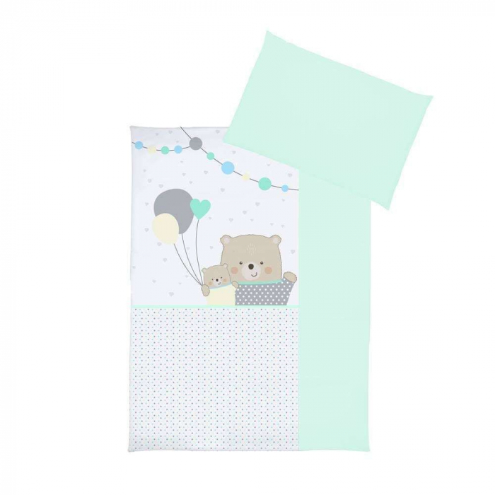 Set lenjerie imprimata 5 piese Teddy Bears with Balloons turquoise [1]