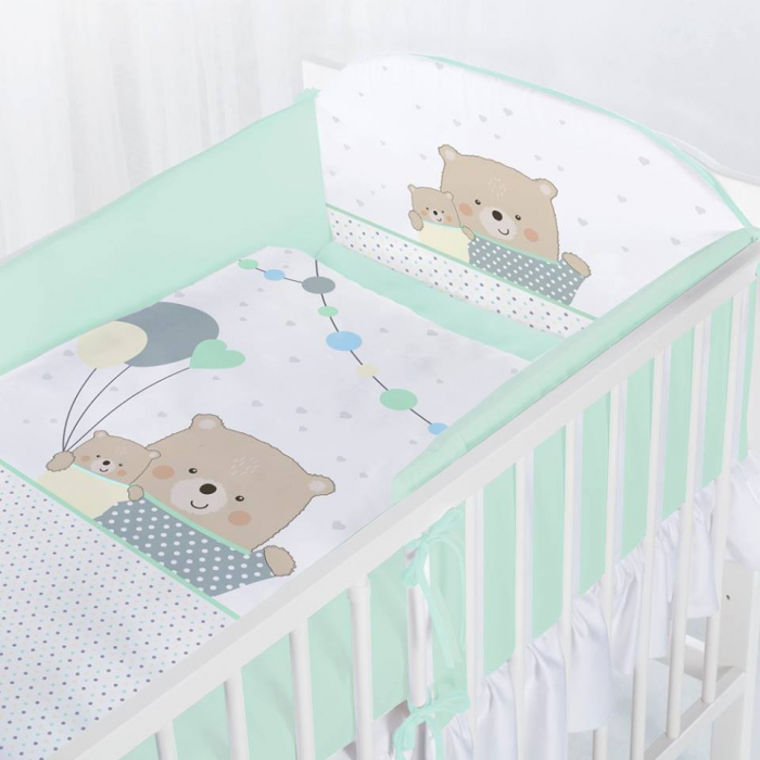 Set lenjerie imprimata 5 piese Teddy Bears with Balloons turquoise [0]