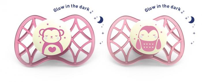 Set 2 suzete simetrice de noapte 6 luni+ Nuvita [0]