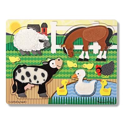 Puzzle de lemn Atinge si descopera Animale de la ferma Melissa and Doug [0]
