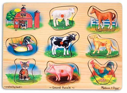 Puzzle lemn cu sunete Animale de la Ferma Melissa and Doug [0]