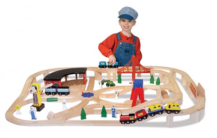 Set Trenulet din lemn cu depou Melissa and Doug [0]