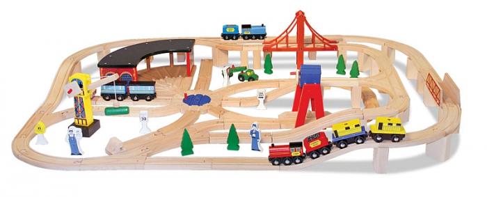 Set Trenulet din lemn cu depou Melissa and Doug [1]