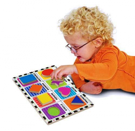 Puzzle lemn in relief Forme geometrice Melissa and Doug [1]