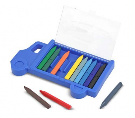 Set creioane colorate triunghiulare Truck Melissa and Doug 12 buc [0]