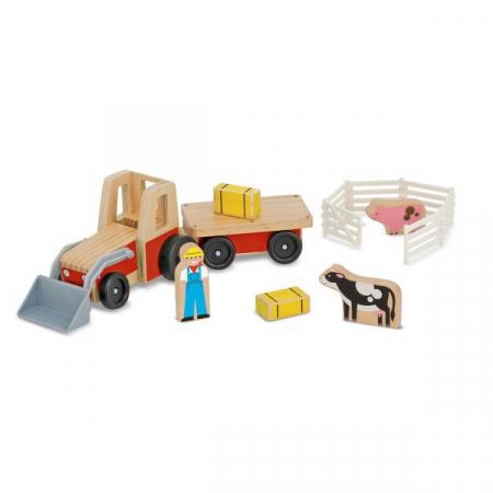 Set de joaca Excavator din lemn cu remorca [1]