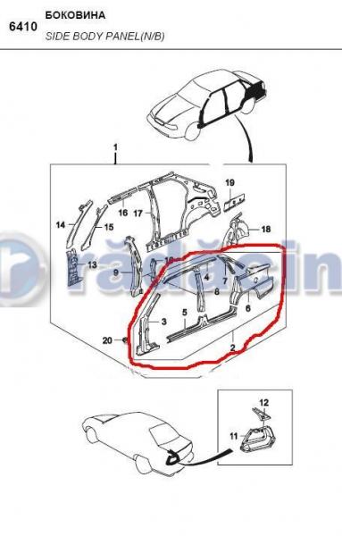 Panou lateral (dublura) stg  cod 90245403 0
