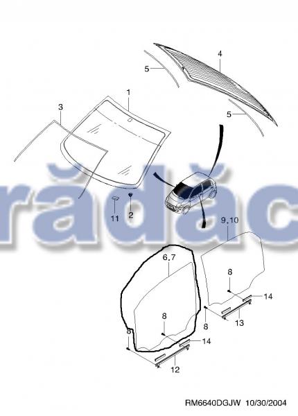 Geam usa fata dr (culisant)  -transparent cod 96255766 0