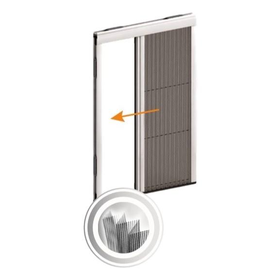 KIT plasă de țânțari plisată orizontală pentru ușă cu un canat PLIXY 0