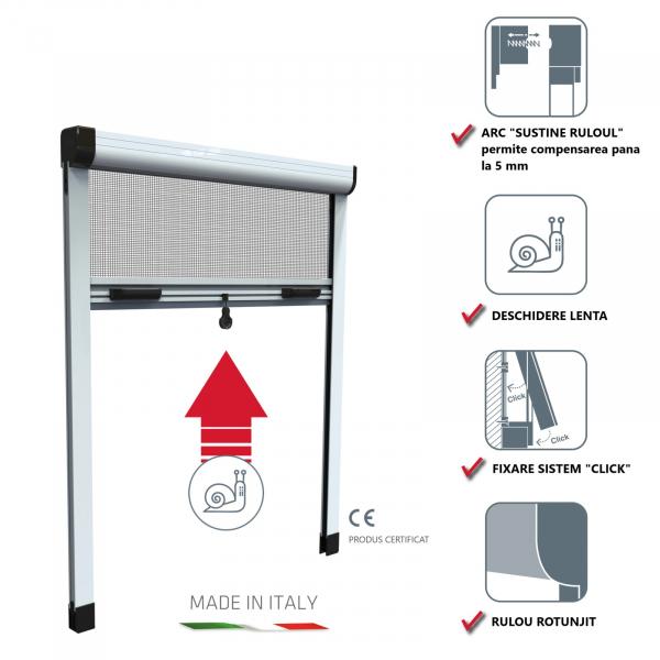 KIT plasă de țânțari tip rulou verticală pentru fereastră ROTO 0