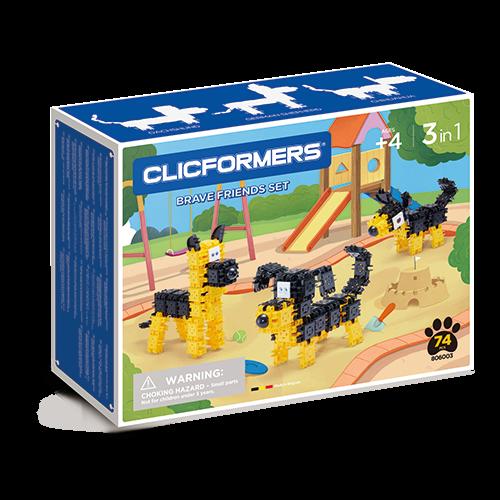 Set de construit Clicformers- Catei prietenosi 74 piese 0
