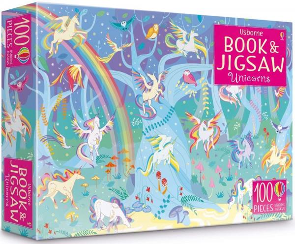 Pachet 2 Unicorni puzzle si carti autocolante 0