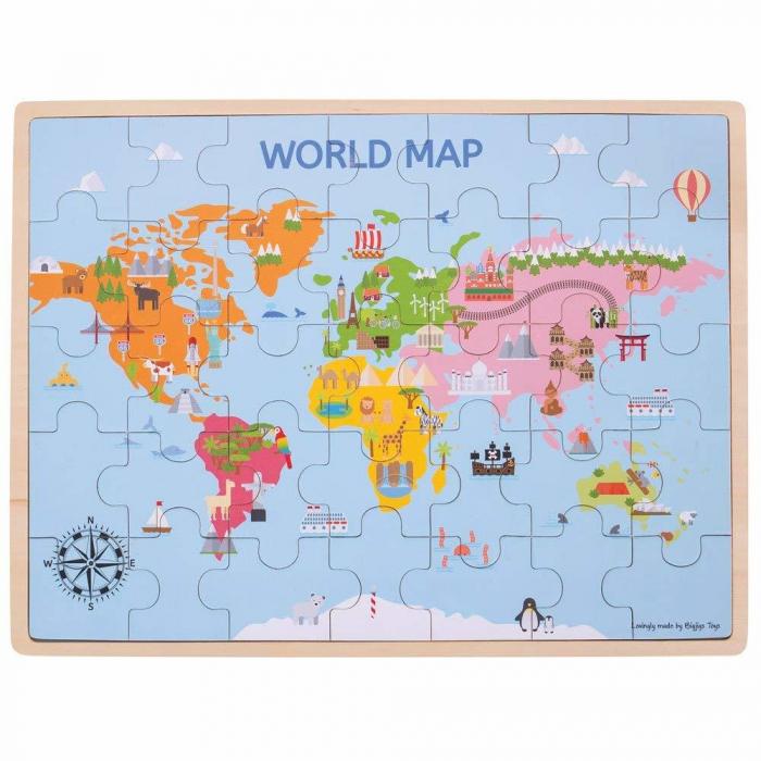 Puzzle din lemn - Harta lumii (35 piese) [0]