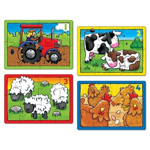 Set 4 Puzzle La ferma (4 6 8 si 12 piese) FARM FOUR IN A BOX 1