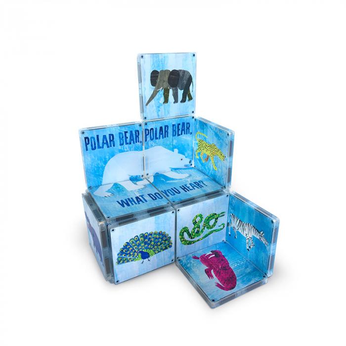 Set de constructie piese magnetice, CreateOn Magna-Tiles -  Ursule polar, ursule polar, tu ce auzi? By Eric Carle, 16 piese [1]