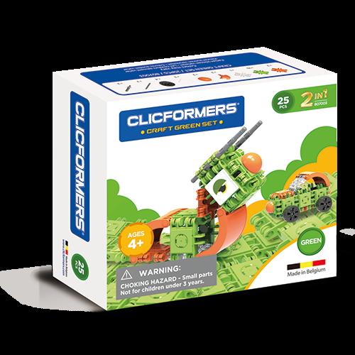Set de construit Clicformers- Craft verde 25 de piese 0