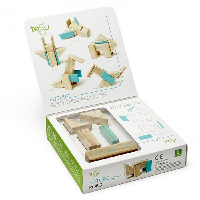 Robo joc de constructie magnetic cu piese din lemn 3