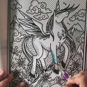 Carte de pictat cu apa - Magic Painting Unicorns1