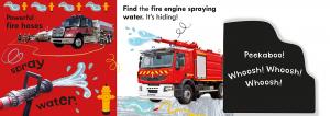 Noisy Fire engine Peekaboo - carte cu clapete sonore masina de pompieri1