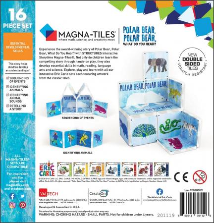 Set de constructie piese magnetice, CreateOn Magna-Tiles -  Ursule polar, ursule polar, tu ce auzi? By Eric Carle, 16 piese [3]