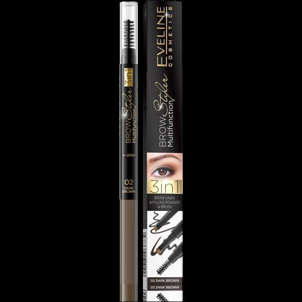 Creion Multifunctional pentru Sprancene 3 in 1 Brow Styler Eveline - 02 Dark Brown - PlusBeauty.ro 0