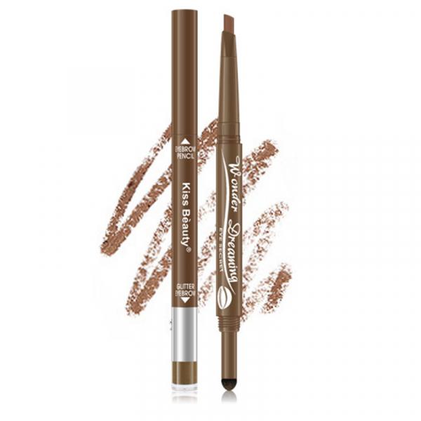 Creion Sprancene 2 in 1 Eye Secret Eyebrow Pencil & Glitter Eyebrow Kiss Beauty- Light Brown - PlusBeauty.ro 0