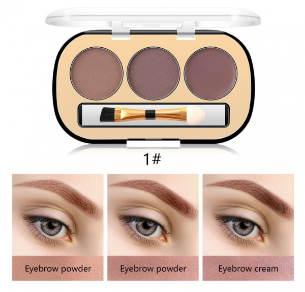 Trusa Sprancene 3 in 1 Eyebrow Powder & Eyebrow Cream Miss Rose - 01 - PlusBeauty.ro 1