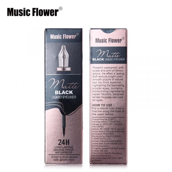 Eyeliner Lichid Matte Waterproof 24H Music Flower - Black - PlusBeauty.ro 3