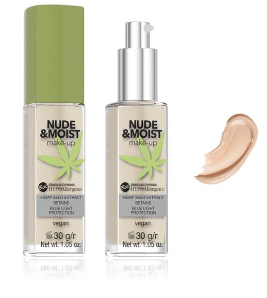 Fond de Ten Vegan Hidratant și Hrănitor Hipoalergenic Nude&Moist Make-up - 02 Beige - PlusBeauty.ro 0