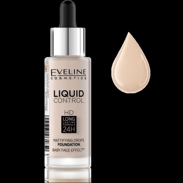 Fond de Ten Liquid Control Matifiant 24H Eveline - 005 Ivory - PlusBeauty.ro 0