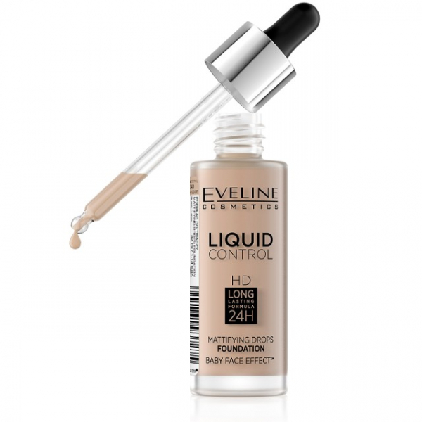 Fond de Ten Liquid Control Matifiant 24H Eveline - 030 Sand Beige - PlusBeauty.ro 2