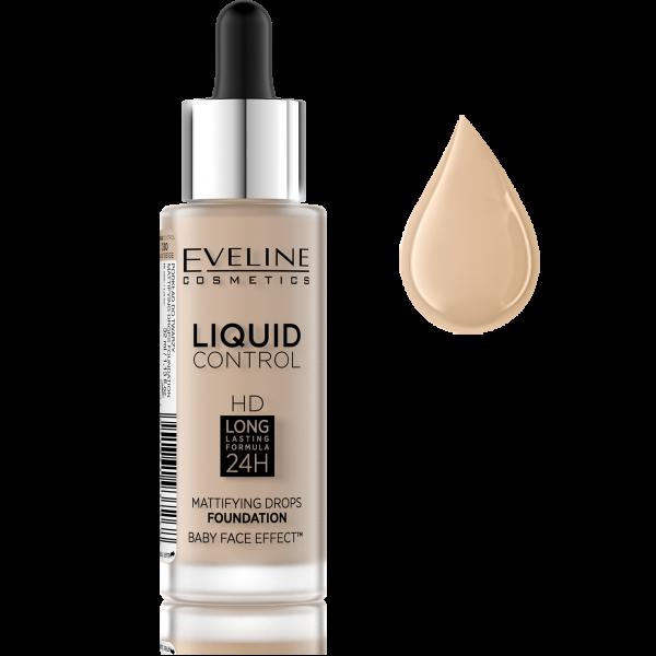 Fond de Ten Liquid Control Matifiant 24H Eveline - 030 Sand Beige - PlusBeauty.ro 0