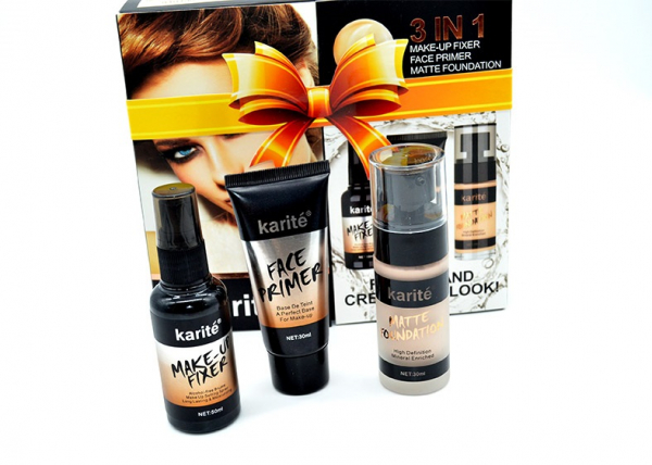 Kit Machiaj 3 in 1 Karite - Baza Machiaj, Spray Fixare si Fond de Ten - 01 Ivory - PlusBeauty.ro 4