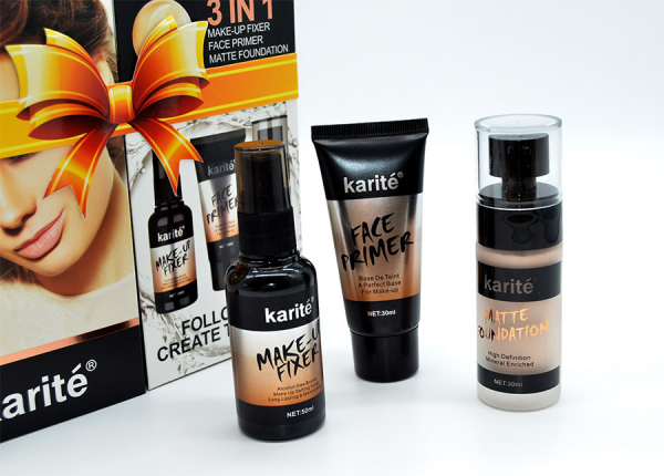 Kit Machiaj 3 in 1 Karite - Baza Machiaj, Spray Fixare si Fond de Ten - 01 Ivory - PlusBeauty.ro 5
